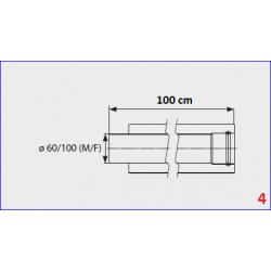 Rallonge coaxiale 60/100 mm pour chauffe-bain gaz Mini 12BF - 100 cm