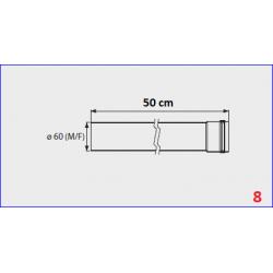 Rallonge flux forcé pour chauffe-bain gaz Mini 12BF - 50 cm