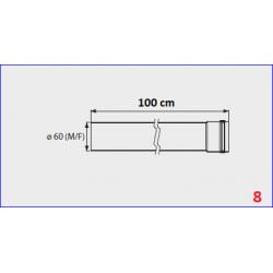 Rallonge flux forcé pour chauffe-bain gaz Mini 12/16BF - 100 cm
