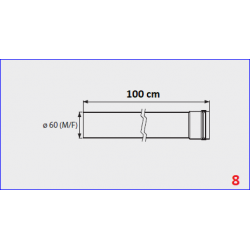 Rallonge flux forcé pour chauffe-bain gaz Mini 12BF - 100 cm
