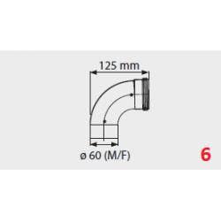 Coude flux forcé  pour chauffe-bain gaz Mini 12/16BF - 90°