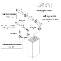 Coude coaxial 60/100 mm pour chauffe-bain gaz Mini 12/16BF - 90°